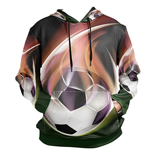 (NYTTT Green Football Soccer Hoodies 3D Print Athletic Hooded Sweatshirts for Men Girls Boys(Health Fabric) )
