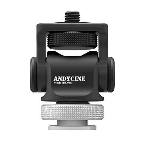 ANDYCINE Mini Hot Shoe Stand Monitor Mount 176 Degree Upper Rotation 360 Degree Base Rotations with Screw Fixture Camera EDC Tools Box (360 Stand Rotation Degree)