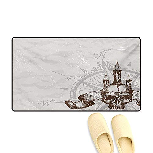 Bath Mat,Compass with Skull and Candles Spooky Adventure New Pirate Destinations Theme,Door Mats Area Rug,Brown Pearl Grey,32