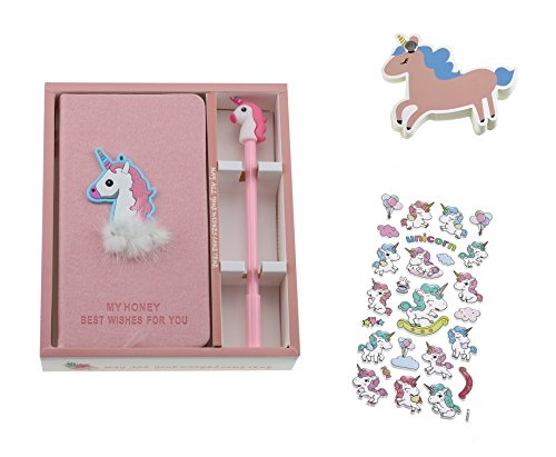 K-Acc Unicorn Pink Journal/Pen/Stickers/Scratch pad, Unicorn Stationery Favors Gifts (Unicorn Gifts 4 Pack) by K-Acc