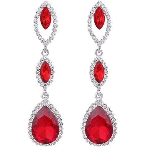 (EVER FAITH Women's Rhinestone Crystal Marquise Shape Teardrop Pierced Dangle Earrings Red Silver-Tone)