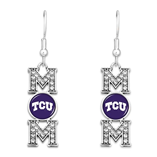 Sports Team Accessories TCU Horned Frogs MOM Earrings with Logo and Rhinestones (Logo Wire Team Earrings)