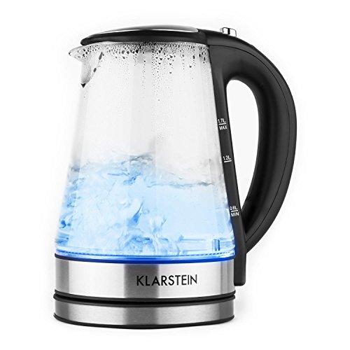 Klarstein Darjeeling Glas Edelstahl Wasserkocher mit Temperatureinstellung (1,7L Glaswasserkocher , 2200W, blaue LED-Beleuchtung, stufenlose Temperatur einstellbar, Cool-Touch-Griff) silber-schwarz
