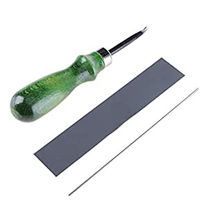 DIY Leather Craft Edge Skiving Beveling Cutting Tool with Wood Handle 1mm-Tuankay
