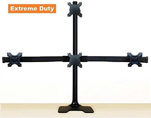 - EZM Deluxe Pyramid Quad Monitor Mount Stand Free Standing with Grommet Mount Option up to 28