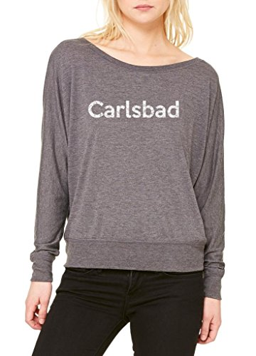 Ugo Carlsbad CA California Map Flag Home of University of Los Angeles UCLA USC CSLA Women's Flowy Long Sleeve Off Shoulder Tee - Carlsbad Outlet Ca