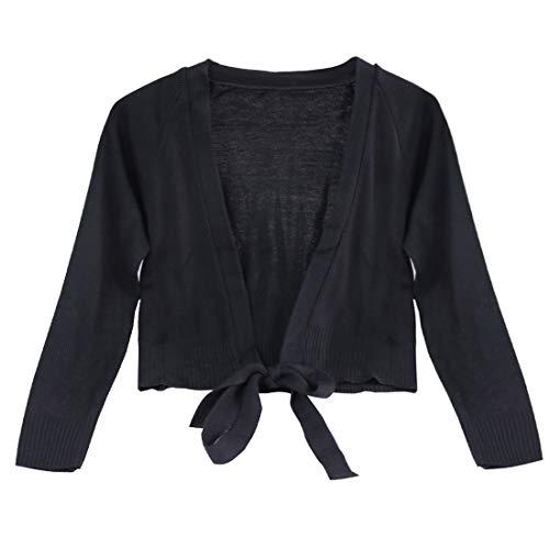 - TiaoBug Girls' Classic Long Sleeve Ballet Wrap Top Thick Gymnastics Dance Knit Cardigan Shrug Sweater Black 10-12