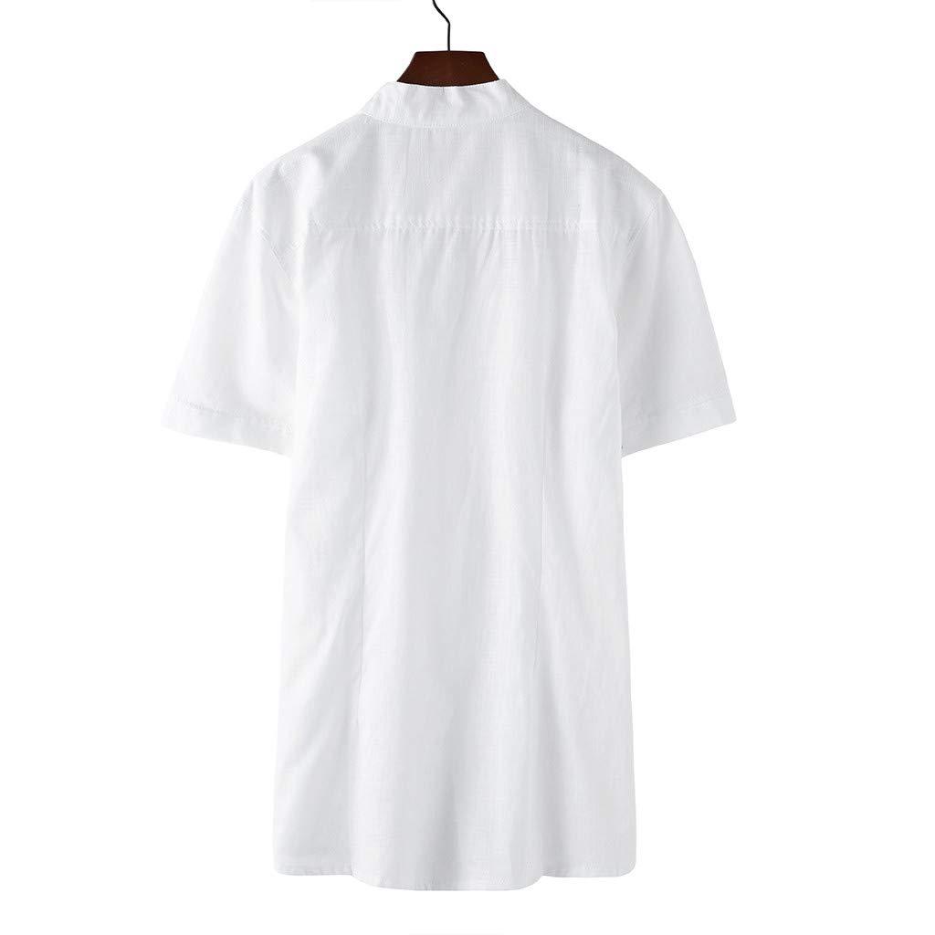 Mens Pocket Casual Cotton Short Sleeves Sharemen Summer Fashion Solid Color Shirt Single-Breasted Shirt Gray,XL