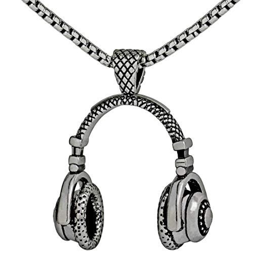 (Alexsix Necklace,Men Necklace Vintage Stainless Steel Headphone Necklaces Pendant(Silver))
