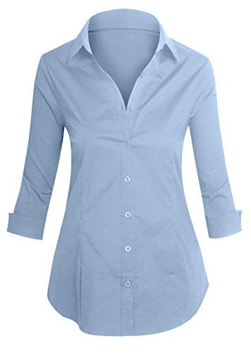 [Women's Roll Up 3/4 Sleeve Button Up Collared Shirts with Stretch] (Cute Cheerleading Outfits)