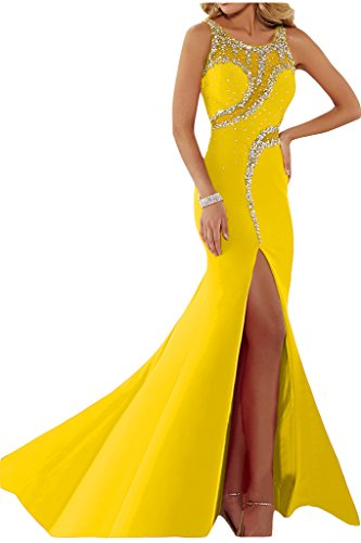 Luxurioes Festkleid Ivydressing Steine Rundkragen Abendkleid Damen Schlitz Golden Partykleid g46xg7Fq