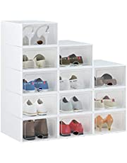Shoe Box, Shoe Storage Boxes Clear Plastic Stackable, Shoe Organizer Containers with Lids for Women/Men