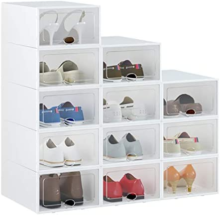 "HOMIDEC Shoe Box, 12 Pack Shoe Storage Boxes Clear Plastic Stackable, Shoe Organizer Containers with Lids for Women/Men (13"" x 9"" x 5.5"")"