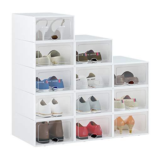 "HOMIDEC Shoe Box, 12 Pack Shoe Storage Boxes Clear Plastic Stackable, Shoe Organizer Containers with Lids for Women/Men (13"" x 9"" x 5.5"")"