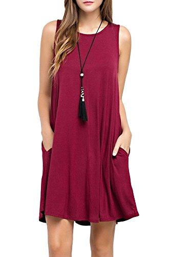 TOPONSKY Women's Summer Sleeveless Pocket Sundress(S, Wine Red)