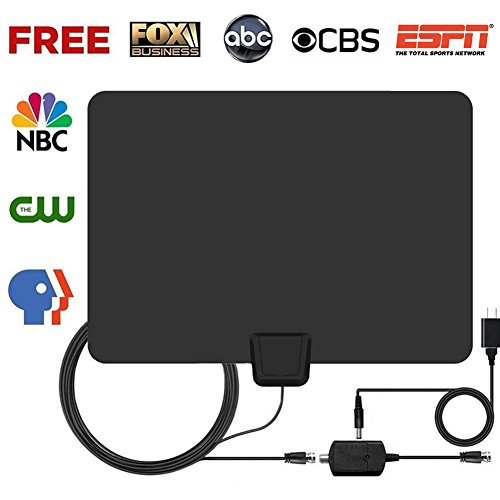 HDTV Antenna,Pendoo Indoor Amplified Digital TV Antenna 50 Miles Range Amplifier Signal Booster,1080P Full HD High Reception with USB Power Supply & 16.5FT Coax Cable