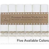 """Premium Baby Washcloths - (6 Pack) Organic Baby Bath Washcloths - Ultra Soft Bamboo Face Towels - 10""""x10"""" - Perfect Boutique Baby Gifts & Baby Registry Gift, Wash Cloths for Eczema (Beige/White)"""