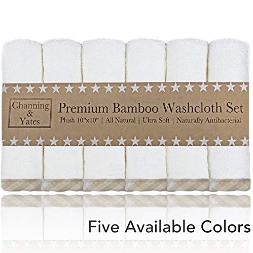 (Channing & Yates - Premium Baby Washcloths - (6 Pack) Organic Baby Wash Cloths - Soft Bamboo Face Towels - 10