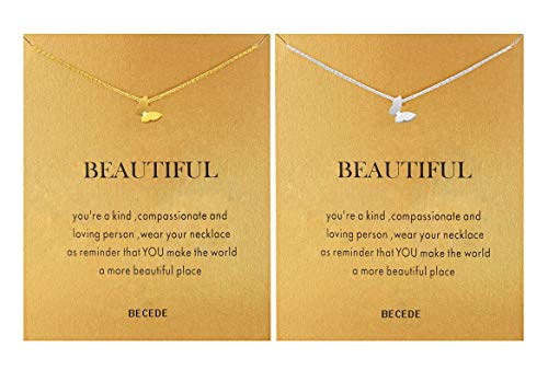 BECEDE Friendship Butterfly Compass Necklace Good Luck Elephant Horseshoe Lotus Pendant Chain Necklace with Message Card Gift Card (Butterfly Gold&Silver) (Bird Pendant Gold Plated Jewelry)