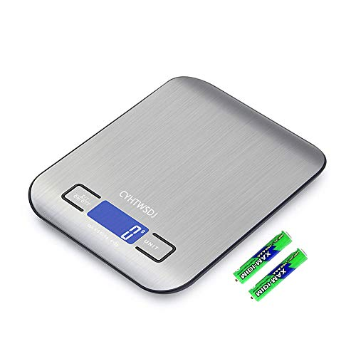 CYHTWSDJ Digital Food Scales, 11lb Kitchen Scale Weight Grams and Ounces for Cooking and Baking, 5 Units with Tare Function (Black with battery)
