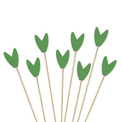BambooMN Premium Decorative Tulip End Cocktail Fruit Sandwich Picks Skewers for Catered Events, Holiday's, Restaurants or Buffets Party Supplies - Green, 5.9