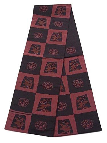 濃度しない気怠いリサイクル 袋帯 市松に松のシルエット 正絹 六通