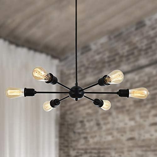 FERWVEW 6-Light Black Industrial Mid Century Lighting Fixture Sputnik Chandelier lamp