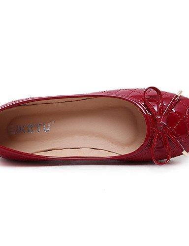 Nero Piatto Finta Red Donna Chiusa Scarpe pelle ShangYi Tessuto Casual Ballerine Rosso Comoda almond Formale squadrata Punta 1gnq7w