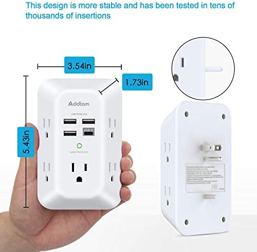 41icqgoYzvL. AC USB Wall Charger, Surge Protector, 5 Outlet Extender with 4 USB Charging Ports ( 1 USB C Outlet) 3-Sided 1800J Power Strip Multi Plug Outlets Wall Adapter Spaced for Home Travel Office, ETL Listed    Product Description