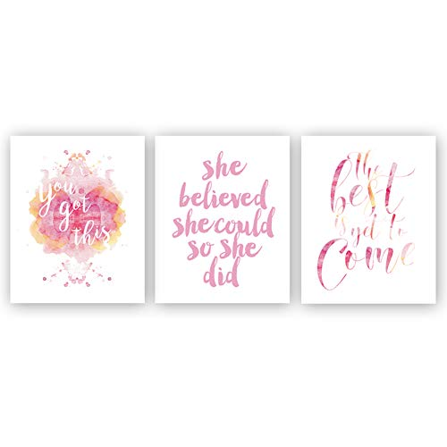 (Sanrx Inspirational Quote Typography Art Painting Poster,Watercolor Motivational Letterings Cardstock Art Print for Girls Women Bedroom Home Wall Decor (Set of 3, 8'' x)