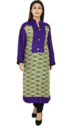 Diseñador indio de Bollywood mujeres étnico Kurti vestido de la túnica casual Beige y azul real