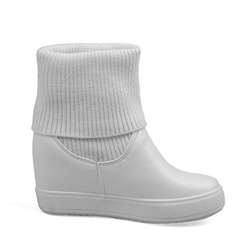 AgooLar Damen Rein Niedriger Absatz Ziehen auf Rund Zehe Stiefel, Weiß, 36