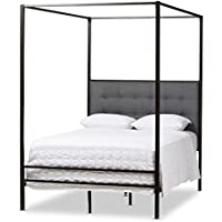 Baxton Studio Lela Vintage Industrial Finished Metal Canopy Bed, Queen, Black