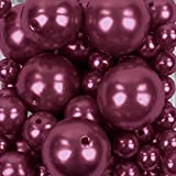 Koyal Wholesale 80 Piece Floating Pearl Beads Burgundy in Transparent Water Gels, Wedding Floating Candle Centerpieces