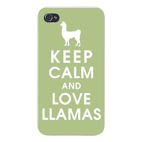 Apple Iphone Custom Case 5 5s Snap on - Keep Calm and Love Llamas w/ White Silhouette (Ipod 5 Llama Case)