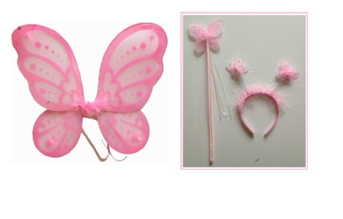 LolaSaturdays 3 Pc Set Pink Fairy Princess Costume Wings (Pink Butterfly Adult Wings)