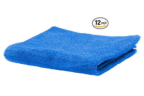 Fingertip Sports Towel - Puffy Cotton Luxury Washcloth Towel Set (12 Pack, 12x12 Inches) Multi-purpose Extra Soft Fingertip towels, Super Absorbent Face Cloths, Machine Washable, Sport and Workout Towels (Blue)
