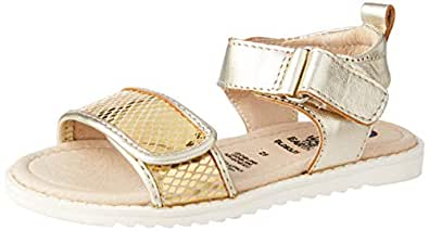 OLD SOLES Girls' Tish Easy to Wear Fashion Sandals, Gold Snake, 20 EU