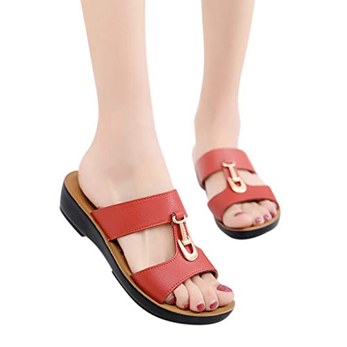 TnaIolral 2019 Women Sandals Metal Button Solid Wedges Slippers Beach Shoes (US:7, Orange)