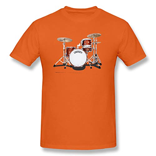 WENSON Mens Gretsch-Drums-Gretsch-Catalina-Club-Jazz-percussio-Drumset Classic T Shirts Orange XXL with Short Sleeve