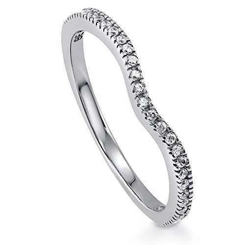 BERRICLE Rhodium Plated Sterling Silver Cubic Zirconia CZ V Shaped Curved Half Eternity Ring Size 6 (Rhodium Plated Sterling Silver Band)