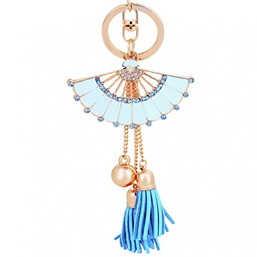 Finance Plan Big Promotion Fashion Shiny Rhinestone Fan Shaped Bead Tassel Pendant Enamel Key Chain Keyring