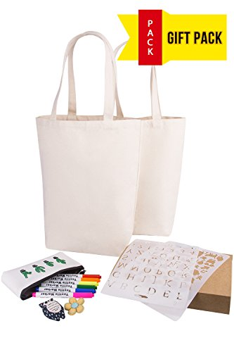 Bags DIY for Crafting and Decorating Reusable Grocery Washable Bag Shopping Bag (Natural - Gift Pack) (Flower Girl Canvas Tote Bag)