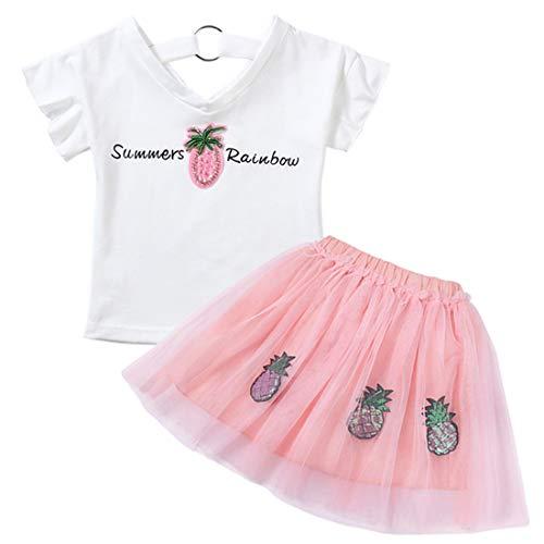 Size shirt Pezzi Morbido E Pink 120cm Ananas Tutu Con Mallty 2 T Maglietta In Da Pink Stampa color Cotone 0q1Saw