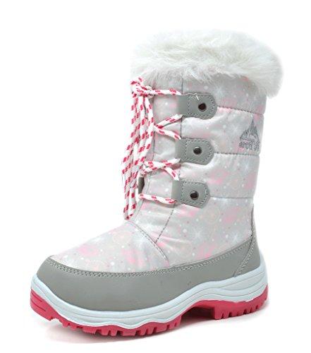 arctiv8 Little Kid Nordic Grey Pink Ankle Winter Snow Boots Size 1 M US Little Kid