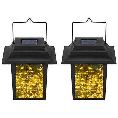 Mason Jar Art Solar Lanterns Hanging Lights,2 Pack 30 LEDs Warm White Fairy Firefly String Waterproof Lights, Outdoor Solar Lantern Lamp for Table Tree Lawn Patio Garden Wedding Decor -
