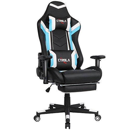 Cyrola Large Size Real PU Leather High Back Comfortable Gaming Chair with Footrest PC Racing Chair with Lumbar Support Headrest Ergonomic Design (Blue/White