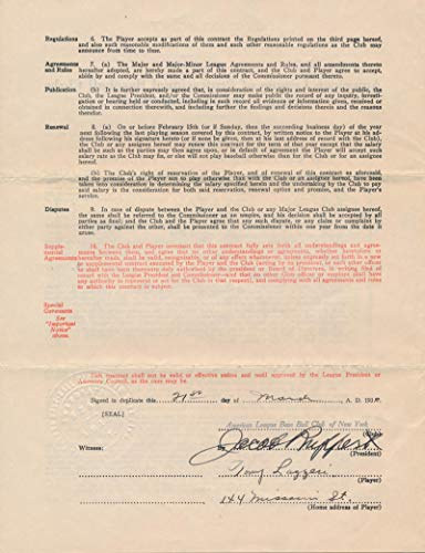 Tony Lazzeri Signed 1930-1931 New York Yankees Contract, JSA from Brigandi Coins and Collectibles