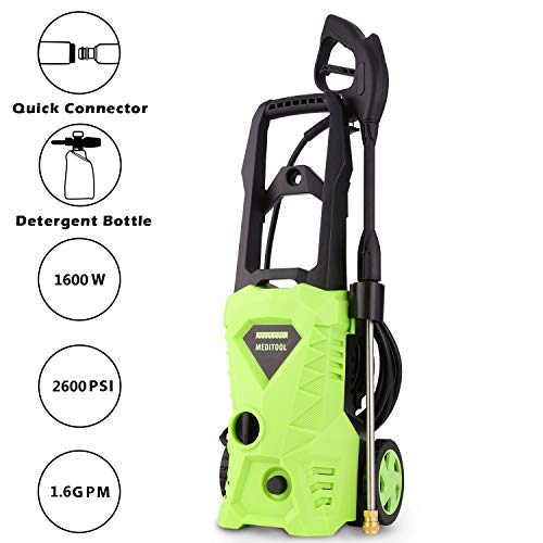- Tagorine Electric Pressure Washer, Power Washer with 2600 PSI,1.6GPM, (4) Nozzle Adapter, Longer Cables and Hoses and Detergent Tank,for Cleaning Cars, Houses Driveways, Patios,and More
