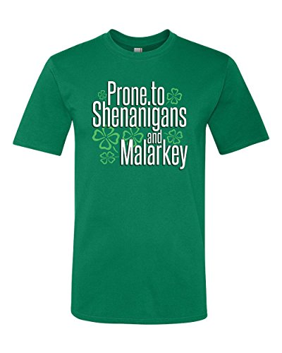 Panoware Men's ST Patricks Day T-Shirt | Prone To Shenanigans and Malarkey, Kelly Green, Small